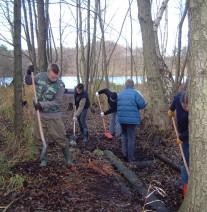Freiwillige verfüllen mit Schaufeln Gräben im Wald